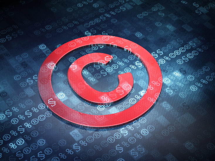 Law concept: Blue Copyright on digital background