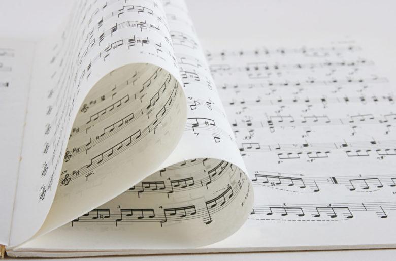 music sheets shaped like a heart