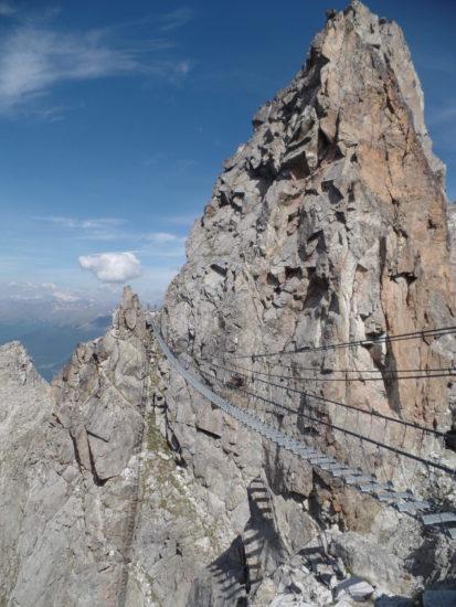hanging bridge at the Italian Alps