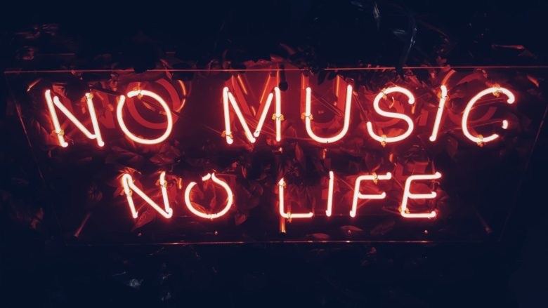 """sign that reads """"no music, no life"""""""
